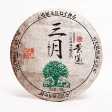 2017, Цзинмай. Весенний отборный чай, 100 г/блин, шэн, ч/ф Фуюань Чан