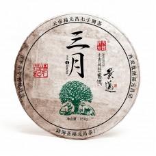 2017, Цзинмай. Высокогорный лист, 357 г/блин, шэн, ч/ф Фуюань Чан