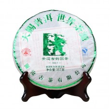 2017, Древний Цзинмайшань, 357 г/блин, шэн, ч/ф Ланьцан